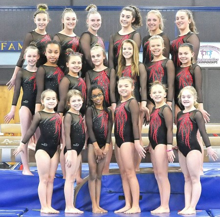 Gymnasts in USA Gymnastics Junior Olympic levels 6 through 10 will compete in a high-level competition March 18-19 at the Old Town-Orono YMCA in an effort to earn a spot to go on to represent Maine in the Region 6 Championship meet next month in Massachusetts.  CREDIT: Contributed
